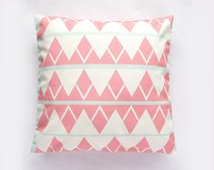 Triangle Print Mint Green and Coral Pastel Pillow Cover, Decorative Pillow, Throw Pillow, Contemporary Pillow, Geometric Pillow, Gift Ideas
