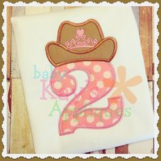 Cowgirl Princess Numbers 1-9 4x4, 5x7, 6x10, 8x8 - Baby Kay's Appliques