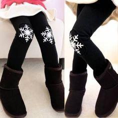 Baby Children Girls Christmas Velvet Leggings Winter Snowflakes Pants
