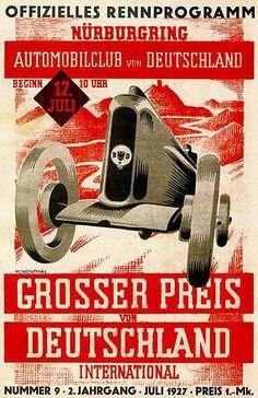 1927 German Grand Prix Auto Race - Nürburgring - Program Cover Poster