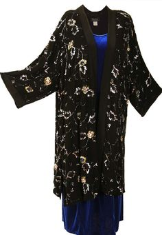 Plus Size Special Occasion Kimono Coat Sequins Silk Black Silver Blue  #style #plusstyle #fallwedding #winterwedding #peggylutzplus