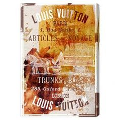 Canvas print with a classic Louis Vuitton advertisement and typographic overlay. Made in the USA.  Product: Wall artConstruction Material: Gallery-wrapped canvas and woodFeatures: Ready to hang Cleaning and Care: Dust lightly