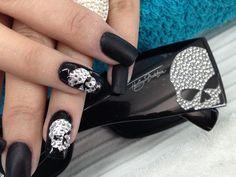 Harley davidson skull nail art