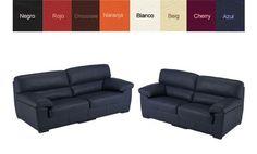 Sofá tres plazas tapizado en piel natural. Disponible en 8 colores, ¡Descúbrelos!