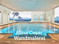Illusionsmalerei in einem Schwimmbad vom Studio Alina Cesár Studio, Outdoor Decor, Home Decor, Atelier, Paint Techniques, Mural Painting, Wall Design, Pictures, Decoration Home