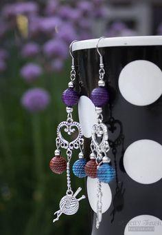 Knit yarn earrings fish hook earrings knit lovers knitting knitter 316L stainless steel