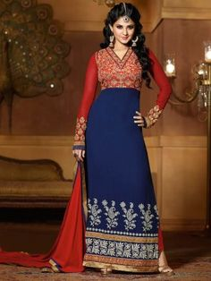 Navy Blue And Red Georgette Suit With Sequins And Stone Work (With Santone Inner) www.saree.com