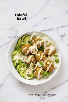 Lentil Split Pea Falafel Bowl with Tahini dressing. Vegan Gluten-free Soy-free Recipe | Vegan Richa