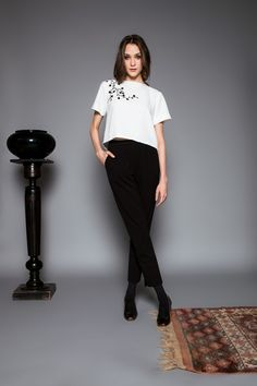 Enduit trousers by Celeni Trousers, Normcore, Blouse, Sleeves, Black, Tops, Style, Fashion, Cement Render