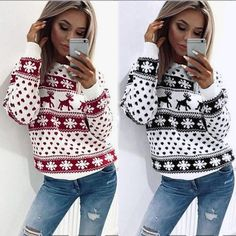 Women Xmas Christmas Floral Print Long Sleeve Sweatshirt
