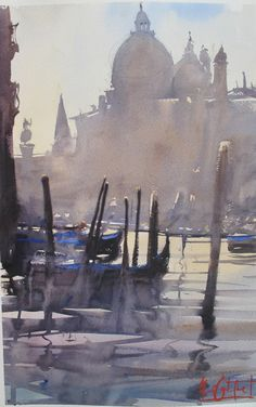Painting of Venice - Alvaro Castagnet water color Watercolor City, Watercolor Sketch, Watercolor Artists, Watercolor Landscape, Watercolour Painting, Landscape Paintings, Watercolors, Venice Painting, Art Aquarelle