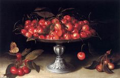 "Fede Galizia (Italian, - ""Ciliegie in alzata d'argento"" (Cherries in a silver compote) - Oil on panel - Wallace and Wilhelmina Cole Holladay Collection, Washington DC Italian Painters, Italian Artist, Art Challenge, Women Artist, Image Halloween, Artemisia Gentileschi, Image Nature Fleurs, Italian Baroque, Still Life Fruit"
