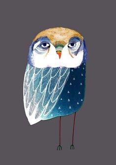 Blue Night Owl. Illustration Art Print., Owl Poster, Kids Print.