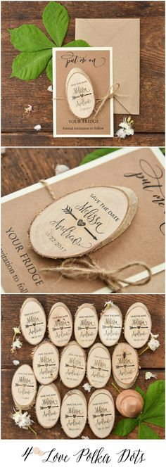 Wedding Save the Date card with wooden magnet 4lovepolkadots #savethedate #wedding #weddingideas #wood #magnet #custom #weddingplanning
