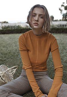 ELLE Australia September 2017 Photography: Christopher Ferguson Model: Kerryn Paasila.//Colorful Knit//Leather skirt//Turtleneck//Mustard// Dots//Shearling//Cable knit//