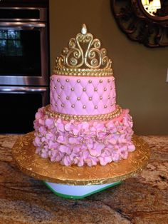 Pink and Gold Baby Shower - Princess cake :) Pretty Cakes, Cute Cakes, Beautiful Cakes, Baby Shower Princess, Baby Princess, Princess Cakes, Princess Birthday Cakes, Princess Theme Cake, Princess Sweet 16