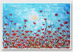 Poppy painting Floral prints Horizontal wall art print Horizontal painting Poppy…