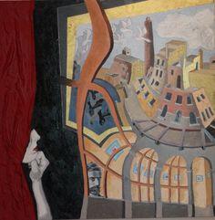 """Omaggio a M.C.Escher """"Contemplazione"""" cm70x70 Olio su tela"""