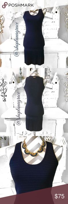 """New🦋Michael Kors Fitted Dress Dress authenticity #MU68W7H3KK. Stunning navy scuba style dress with pleated bottom. Boat measures 15.5"""" armhole to armhole. Shoulder to hem is 35"""" long. Mannequin measurements are 35 25 35. Fit mannequin good in the bust & hips. Torso of the mannequin is a on the short side. This style dress would look fabulous if you are long waisted! 53%viscose, 45%nylon, 2%elastsne. Hand wash cold. NWT Michael Kors Dresses"""