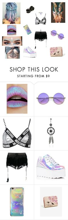 """""""Festival Vibes ✌🏻🦄"""" by evangeline-purdy-girl ❤ liked on Polyvore featuring Lime Crime, ZeroUV, Moschino, Roberto Cavalli and Y.R.U."""