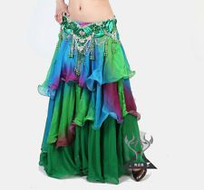 3-layers imitation silk Belly Dance costume dress skirt chiffon skirt 14colors