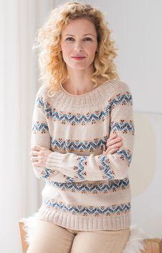 Как вязать пуловер с круглой кокеткой спицами