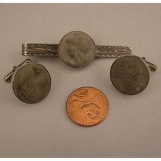 Early 1900s Mans Italian 800 Silver Lava Cameo Cufflinks & Tie Clip Set