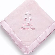 God Bless Baby Embroidered Keepsake Blanket- Pink