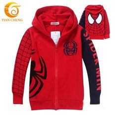 Kids Hooded Spiderman Zipper Vetement Filles Boys Girls Kids Sweat Hoodies Veste Manteaux Kids Clothes For 2-8year(China (Mainland))