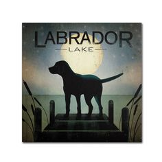"Trademark Art ""Moonrise Black Dog Labrador Lake"" by Ryan Fowler Graphic Art on Wrapped Canvas & Reviews 