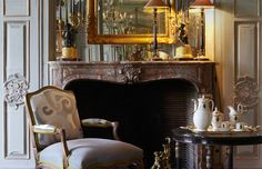 salon, chimenea louis 15 - Αναζήτηση Google Antique Interior, Dining, Interior Design, Chair, Antiques, Table, French Style, Fireplaces, Furniture