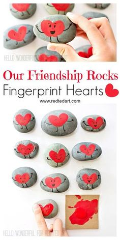 """""""Our Friendship Rocks"""" - what more is there to say? Gorgeous Fringerprint Heart Rocks for Valentines. The perfect Classroom Valentines Gift to make with kids day party for kids crafts Friendship Rocks for Valentine's - Red Ted Art Valentine's Day Crafts For Kids, Valentine Crafts For Kids, Valentines Day Activities, Valentines Day Party, Craft Activities, Fun Crafts, Homemade Valentines, Valentine Wreath, Valentines Sayings For Kids"""