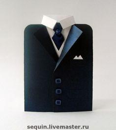 """Открытки для мужчин, ручной работы. Ярмарка Мастеров - ручная работа. Купить Мужская открытка """"Пиджак"""". Handmade. Открытка, атласная лента"""
