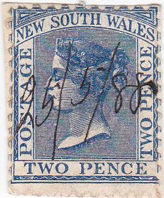 New South Wales Two Pence Postage Stamp 1880s by onetime on Etsy, $12.00