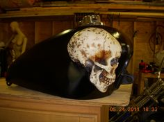 Hand crafted and painted tank. This guy is brilliant! #Gothic #Skull #Tins #Motorcycle #Bike #Harley #Custom #Metal #Art