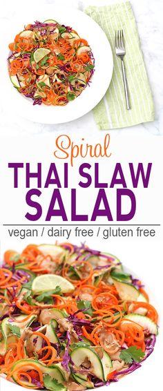 Spiral Thai Slaw Salad | Vegan, Dairy Free, Gluten Free | This Spiral Thai Salad will impress at potlucks and BBQs! | From @V_Nutrition | www.vnutritionandwellness.com