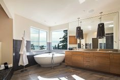 Contemporary Master Bathroom - With a view of Lake Washington.