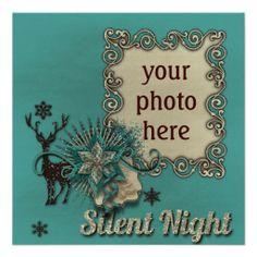 """Einladungskarte """"Silent Night"""" Vers04, Weihnachts Party, Photos können hinzugefügt, Hintergründe und Gestaltung kann ausgetauscht und Text kann geändert werden. Grafik und Entwurf bei ArianneGrafX©2013"""