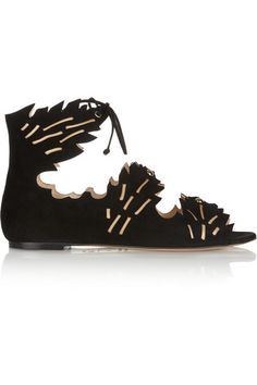 Charlotte Olympia Eden cutout suede sandals #CharlotteOlympia