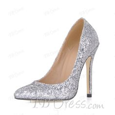 Shining Silver Upper Stiletto Heels Closed-toes Wedding Shoes
