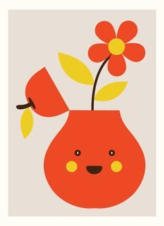 Cute Happy Pear Illustration from Yeoh Gh Fruit Illustration, Graphic Design Illustration, Collage, Happy Flowers, Kawaii, Grafik Design, Illustrations, Vintage Flowers, Cute Art