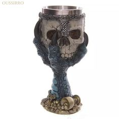 200ml Double Wall Resin Stainless Steel 3D Skull Drinking Mug Personalized Dragon Bone Skull Metal Wine Goblet Cup #Affiliate