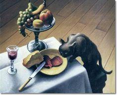 Thomas Hart Benton - Still Life with Black Cat 1958 - 20 x 24 original size in inches by Thomas Hart Benton John Steuart Curry, Art Games For Kids, Still Life Artists, Art Thomas, Grant Wood, Social Realism, Life Paint, Different Art Styles, Canadian Art