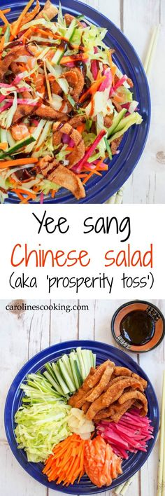 Yee sang is a Chinese salad commonly eaten for Chinese New Year where vegetables, fried wontons & sometimes sashimi salmon are tossed together. Fun & tasty!