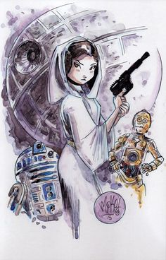 Princess Leia with R2-D2 & C-3PO in front of Death Star ~ Star Wars original fan art ~ watercolor/Sharpie on comic backing board (6.75x10.5) | by Mike Maihack via Twitter