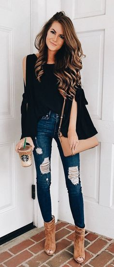 #fall #outfits black off-shoulder distress denim jeans