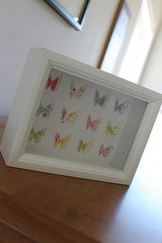 Beautiful butterfly shadow box. Butterflies made with Silhouette machine...gotta get one! :)