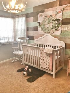 Rustic Glam Pallet Wall In Girls Nursery.