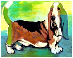 Basset Hound Dog Art 8 x 10 Print Poster of Painting Signed by Char Swift. $10.00, via Etsy.