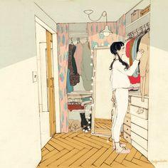 옷장을 가득 채운 수 많은 옷